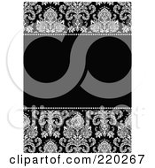 Royalty Free RF Clipart Illustration Of A Formal Black And White Floral Invitation Border With Copyspace 18