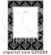 Royalty Free RF Clipart Illustration Of A Formal Invitation Design Of A White Box Over White Swirls On Black