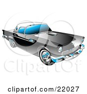 Clipart Illustration Of A Black 1955 Ford Thunderbird Car With A White Removable Fiberglass Top And Chrome Accents by Andy Nortnik
