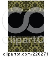 Royalty Free RF Clipart Illustration Of A Formal Invitation Design Of A Black Box Over A Green Damask Pattern
