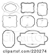 Royalty Free RF Clipart Illustration Of A Digital Collage Of Frame And Certificate Borders On White by BestVector #COLLC220274-0144