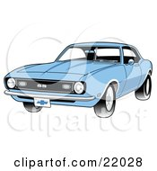 Clipart Illustration Of A Light Blue 1968 Chevrolet SS Camaro Muscle Car With A Chrome Bumper by Andy Nortnik #COLLC22028-0031