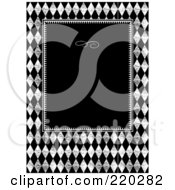 Royalty Free RF Clipart Illustration Of A Formal Invitation Design Of A Black Box Over A Grungy Diamond Pattern by BestVector