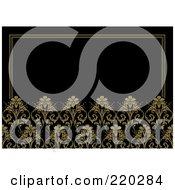 Royalty Free RF Clipart Illustration Of A Formal Invitation Design Of Dark Yellow Flowers On Black