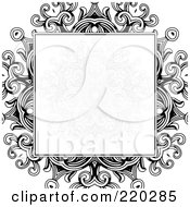Royalty Free RF Clipart Illustration Of A Formal Invitation Design Of A Gray Floral Box Over A Black Floral Design On White