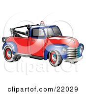 Clipart Illustration Of A Vintage Blue And Red 1953 Chevy Tow Truck With A Light On Top Of The Roof by Andy Nortnik