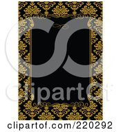 Royalty Free RF Clipart Illustration Of A Formal Invitation Design Of A Black Box Over A Golden Yellow Floral Pattern