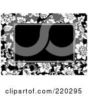 Royalty Free RF Clipart Illustration Of A Formal Black And White Floral Invitation Border With Copyspace 17