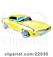 Clipart Illustration Of A Yellow 1969 Chevrolet RSSS Camaro Muscle Car With Black Stripes On The Sides And Chrome Detailing