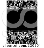 Royalty Free RF Clipart Illustration Of A Formal Black And White Floral Invitation Border With Copyspace 13