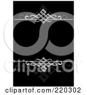 Royalty Free RF Clipart Illustration Of A Formal Invitation Design Of White Swirls And Reflections On Black