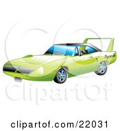Green 1970 Plymouth Road Runner Superbird Racing Car With A Large Spoiler In The Back