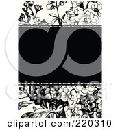 Royalty Free RF Clipart Illustration Of A Formal Black And White Floral Invitation Border With Copyspace 5