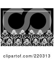 Royalty Free RF Clipart Illustration Of A Formal Black And White Floral Invitation Border With Copyspace 23