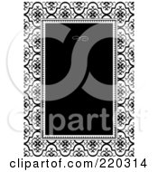 Royalty Free RF Clipart Illustration Of A Formal Invitation Design Of A Black Box Over A Black And White Damask Pattern