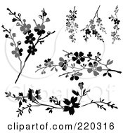 Royalty Free RF Clipart Illustration Of A Digital Collage Of Blossom Branches In Black And White by BestVector