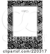 Royalty Free RF Clipart Illustration Of A Formal Black And White Floral Invitation Border With Copyspace 15