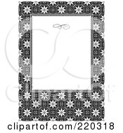 Royalty Free RF Clipart Illustration Of A Formal Black And White Floral Invitation Border With Copyspace 10