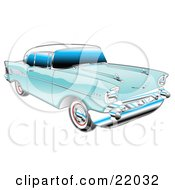 Blue 1957 Chevy Bel Air Car With A White Roof And Chrome Detailing