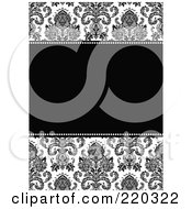 Royalty Free RF Clipart Illustration Of A Formal Black And White Floral Invitation Border With Copyspace 12
