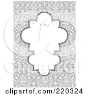 Royalty Free RF Clipart Illustration Of A Formal Invitation Design Of A Unique White Box Over A Gray Floral Pattern