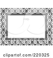Royalty Free RF Clipart Illustration Of A Formal Black And White Floral Invitation Border With Copyspace 6