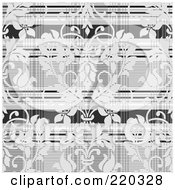 Royalty Free RF Clipart Illustration Of A Background Of Light Gray Damask Over Plaid