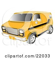 Yellow 1979 Chevy Van With Tinted Windows And Black Striping On The Side