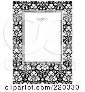 Royalty Free RF Clipart Illustration Of A Formal Black And White Floral Invitation Border With Copyspace 34