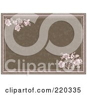 Royalty Free RF Clipart Illustration Of A Formal Invitation Design Of Pink Roses On Brown by BestVector