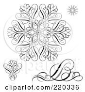 Royalty Free RF Clipart Illustration Of A Digital Collage Of Black And Hwite Snowflake And Swirl Designs