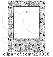 Royalty Free RF Clipart Illustration Of A Formal Black And White Floral Invitation Border With Copyspace 30