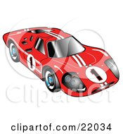 Clipart Illustration Of A Red 1967 Ford Mark IV GT40 Racing Car With White Stripes And The Number 1 by Andy Nortnik