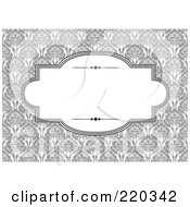 Royalty Free RF Clipart Illustration Of A Formal Invitation Design Of A White Box Over A Gray Flower Pattern