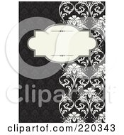 Royalty Free RF Clipart Illustration Of A Formal Black And White Floral Invitation Border With Copyspace 35