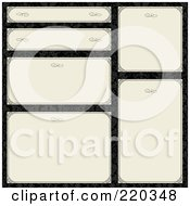 Royalty Free RF Clipart Illustration Of A Digital Collage Of Beige Frame And Certificate Borders On Black Floral