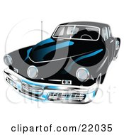 Clipart Illustration Of A Black 1948 Tucker Car With A Chrome Bumper And Details
