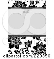 Royalty Free RF Clipart Illustration Of A Formal Black And White Floral Invitation Border With Copyspace 41