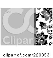 Royalty Free RF Clipart Illustration Of A Formal Black And White Floral Invitation Border With Copyspace 32