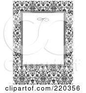 Royalty Free RF Clipart Illustration Of A Formal Black And White Floral Invitation Border With Copyspace 49