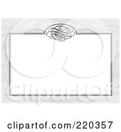 Royalty Free RF Clipart Illustration Of A Formal Invitation Design Of A White Swirl Box Over A Gray Pattern