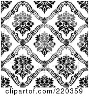 Royalty Free RF Clipart Illustration Of A Seamless Backgorund Of Black Floral Vase Patterns On White by BestVector