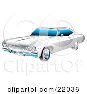 Clipart Illustration Of A White And Chrome 1967 Chevrolet Ss Impala Muscle Car