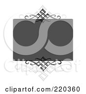Royalty Free RF Clipart Illustration Of A Formal Invitation Design Of Swirls Bordering A Gray Box On White