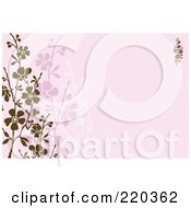 Royalty Free RF Clipart Illustration Of A Formal Invitation Design Of Brown And Pink Blossoms On Pink