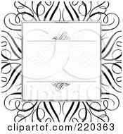 Royalty Free RF Clipart Illustration Of A Formal Invitation Design Of A Swirl Box Over A Large Black Swirl On White