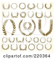 Royalty Free RF Clipart Illustration Of A Digital Collage Of Ornate Wreaths And Laurels On An Antique White Background by BestVector