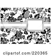 Royalty Free RF Clipart Illustration Of A Formal Black And White Floral Invitation Border With Copyspace 51