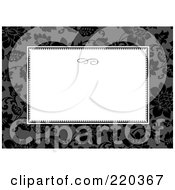 Royalty Free RF Clipart Illustration Of A Formal Black And White Floral Invitation Border With Copyspace 42