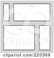 Royalty Free RF Clipart Illustration Of A Digital Collage Of Ornate White And Black Frame And Certificate Borders On A Pattern